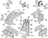 Окрасочные маски переплета кабины и колес шасси Ми-24А