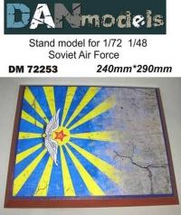 Подставка для модели (тема ВВС СССР - подложка фото бетонка + флаг ВВС)