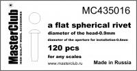 Плоская сферическая заклепка, диаметр-0.9mm; диаметр отверстия для монтажа-0.6mm; 120 шт.